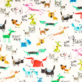 Sherbet Bow Wow Duck Cloth Fabric